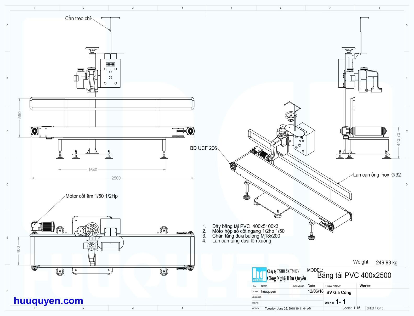 Thông số kích thước băng tải may dùng cho cân đóng bao máy đóng gói