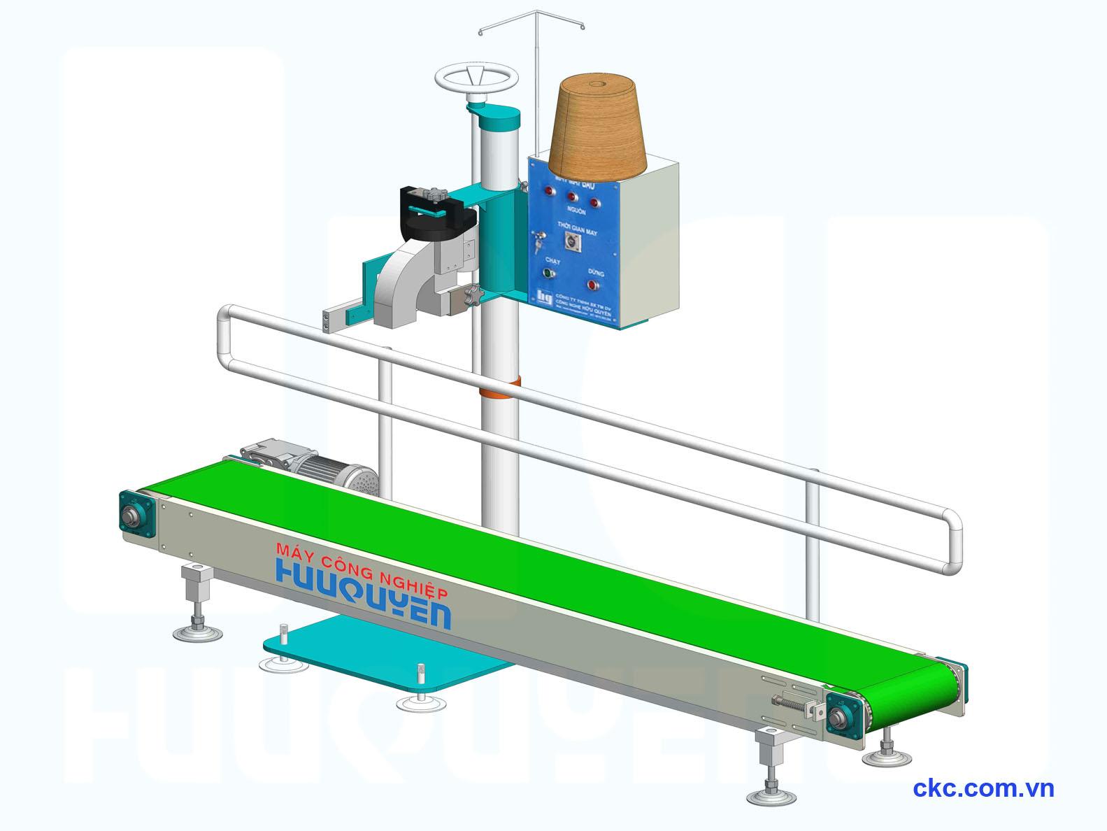 Băng tải may bao, trụ đỡ tủ điện điều khiển tự động dùng cho máy khâu miệng bao