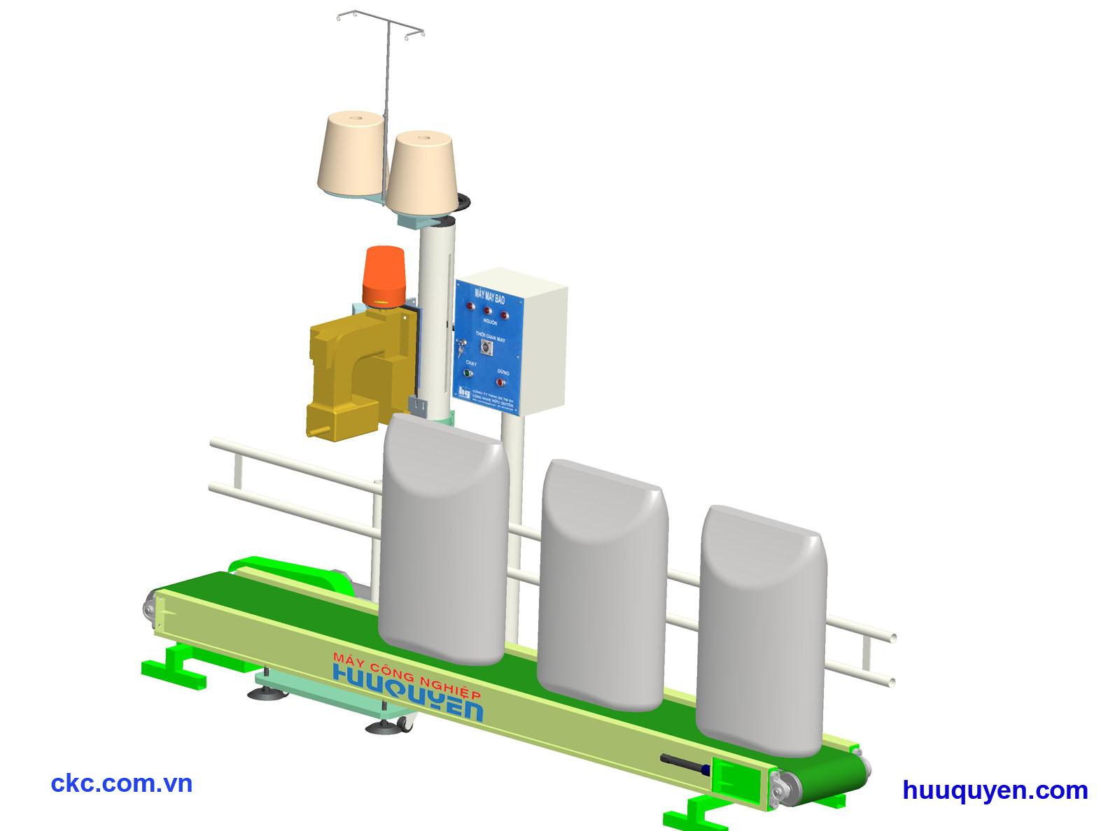 Hệ thống băng tải trụ đỡ tủ điện điều khiển may bao công nghiệp
