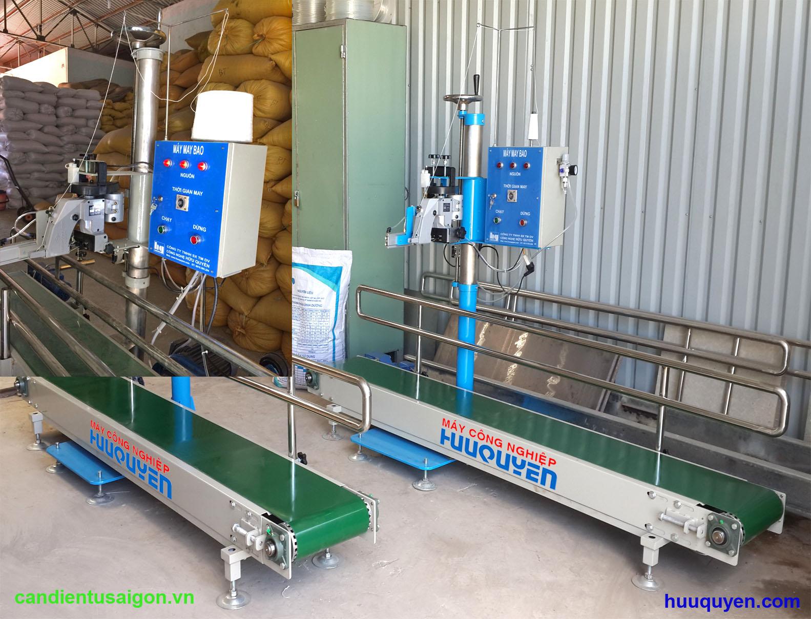 Băng tải may bao, trụ đỡ tủ điện điều khiển tự động dùng cho máy khâu miệng bao phân bón xơ dừa lúa gạo