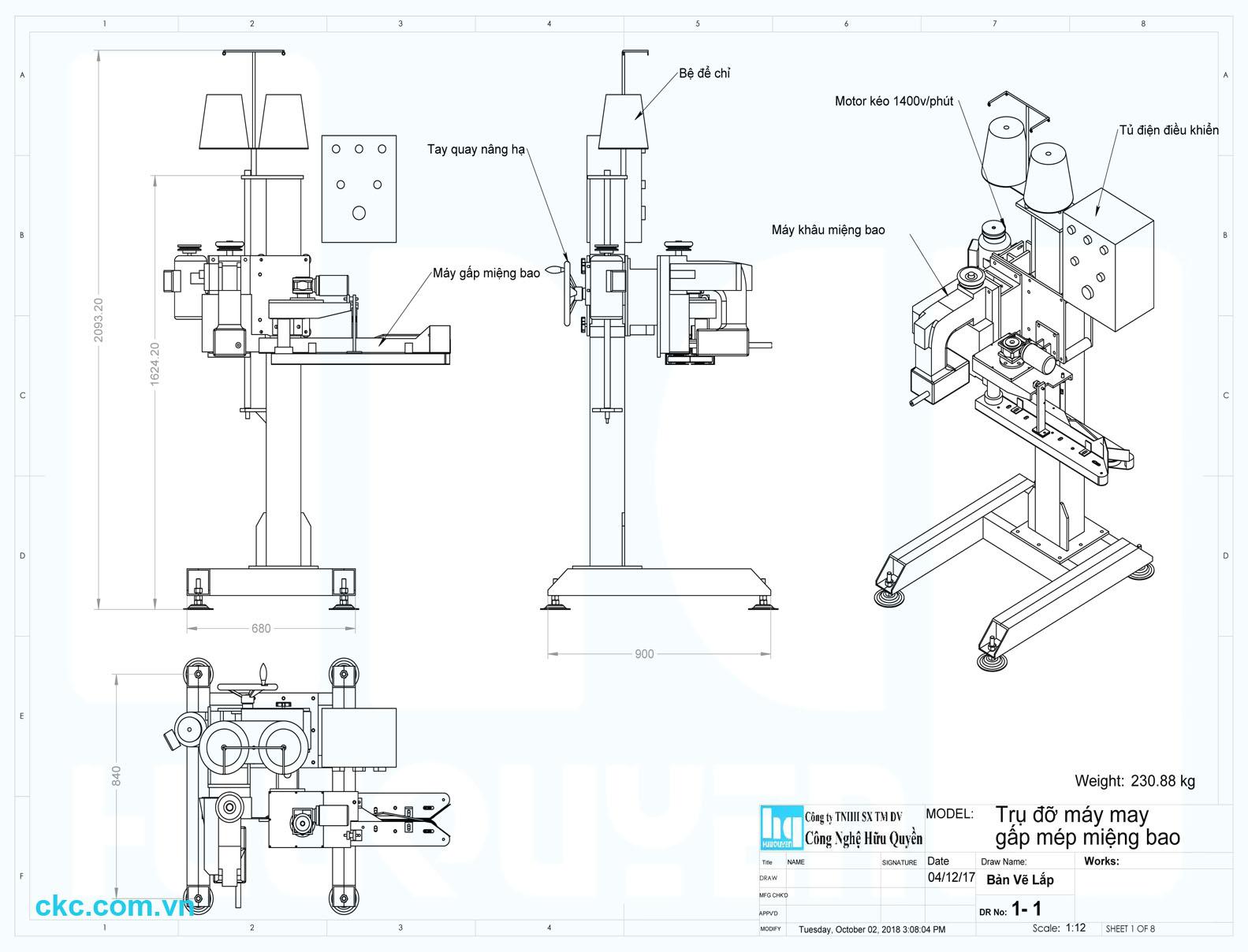 Kích thước hệ thống máy gấp mép miệng bao HQ-4900 băng tải trụ đỡ may bao tủ điện điều khiển