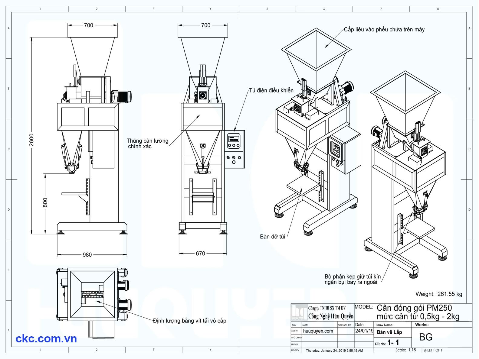 Kích thước và thông số kỹ thuật máy đóng gói cân đóng túi dạng bột