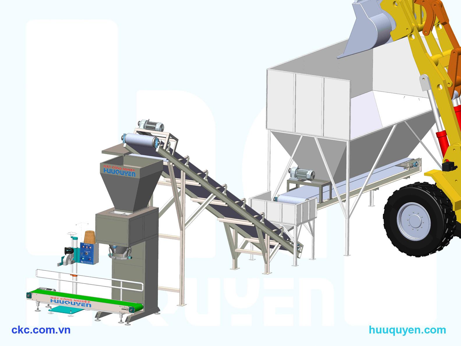 hệ thống cân, băng tải cấp liệu trong đóng gói phân hữu cơ phân vi sinh