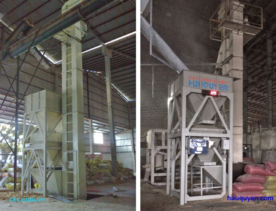 Cân phễu , cân mẻ lúa gạo trâu trong nhà máy